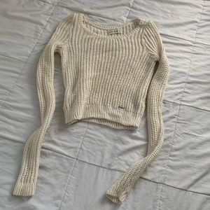 Abercrombie & Fitch Beige Cropped Knit Sweater